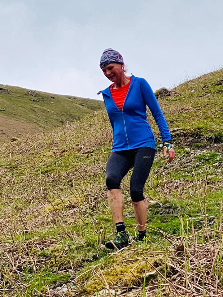 Nicky Spinks descending Dunmail during her May attempt